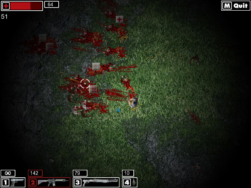 Bloody Zombies, a game created without programming with GDevelop